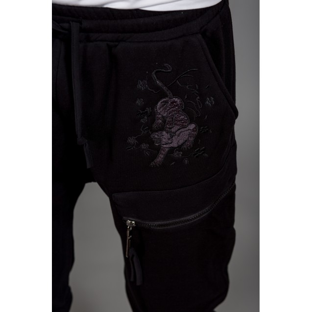 Pantaloni de trening negri cu turul lasat Kingz Jeans 1503-2