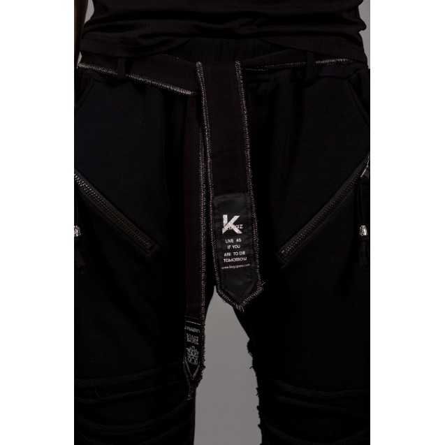 Pantaloni de trening negri cu turul lasat Kingz Jeans 1504