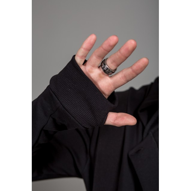 Hanorac negru lung Kingz Jeans 23-084