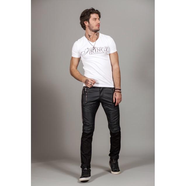 Tricou alb argintiu Kingz Jeans 30-22