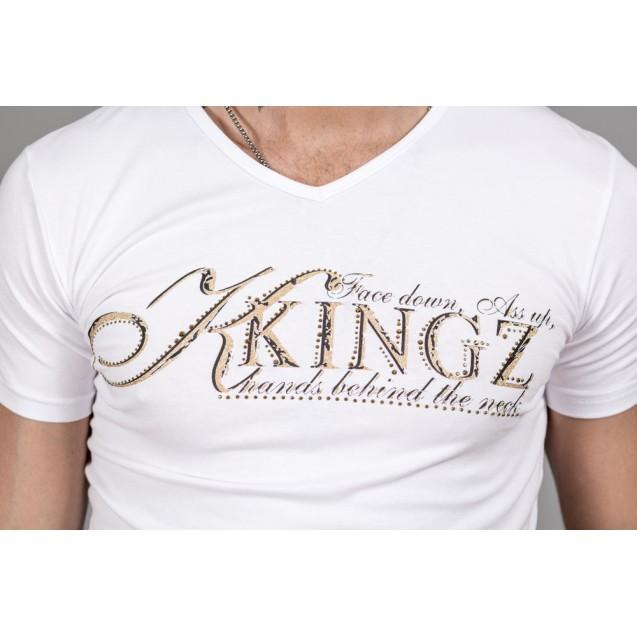Tricou alb auriu Kingz Jeans 30-22
