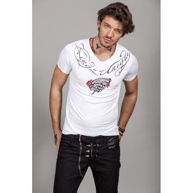Tricou alb Kingz Jeans 36-02