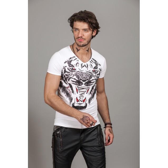 Tricou alb Kingz Jeans 36-08