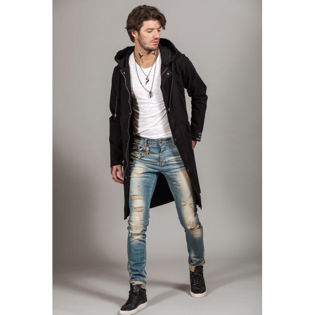Jacheta neagra lunga Kingz Jeans 54-1